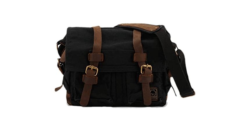 Sechunk vintage military canvas leather messenger bag